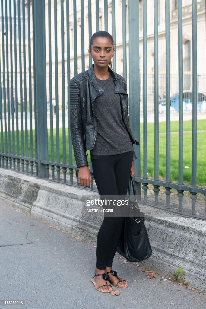 Model Alecia Morais on day 9 of Paris Fashion Week Spring/Summer 2014, Paris October 02, 2013 in Paris, France.