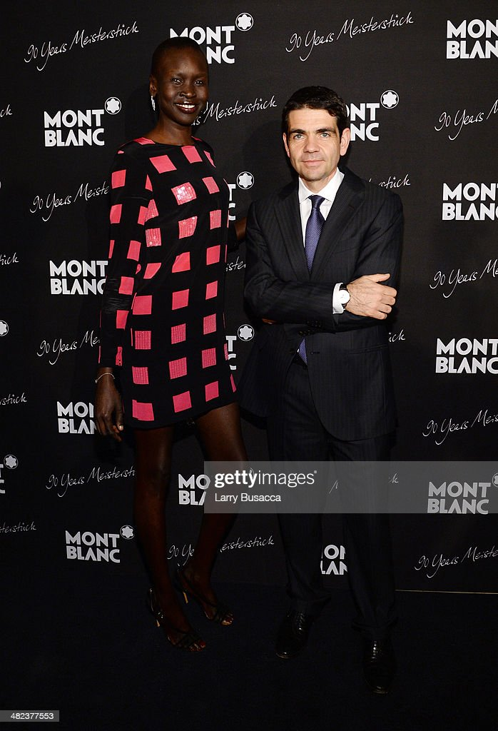 Model Alek Wek and CEO of Montblanc International Jerome Lambert attend Montblanc Celebrates 90 Years of the Iconic Meisterstuck on April 3 2014 at...