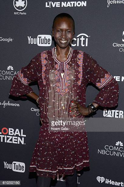 Model Alek Wek attends the 2016 Global Citizen Festival In Central Park To End Extreme Poverty By 2030 at Central Park on September 24 2016 in New...