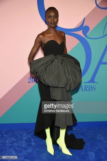Model Alek Wek attends the 2017 CFDA Fashion Awards at Hammerstein Ballroom on June 5 2017 in New York City