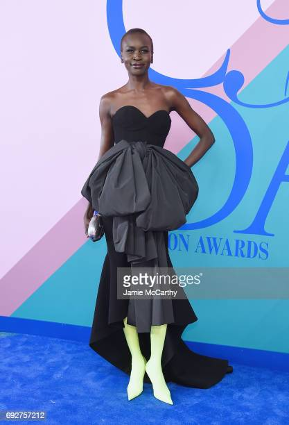 Model Alek Wek attends the 2017 CFDA Fashion Awards Cocktail Hour at Hammerstein Ballroom on June 5 2017 in New York City