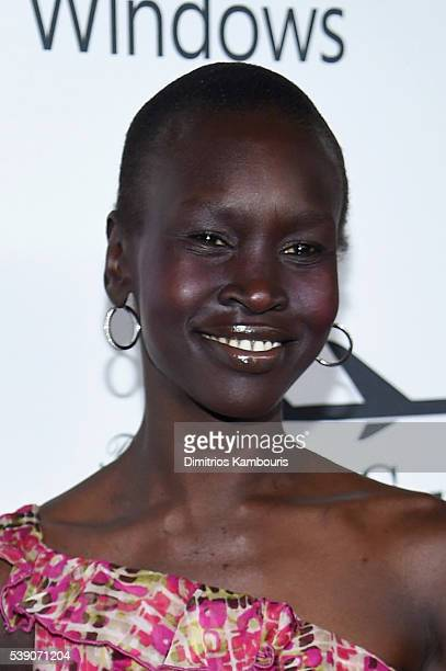 Model Alek Wek attends the 7th Annual amfAR Inspiration Gala New York at Skylight at Moynihan Station on June 9 2016 in New York City
