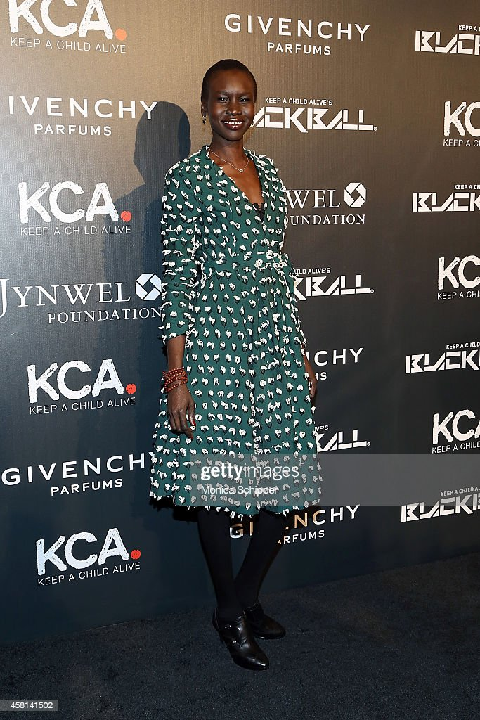 Model Alek Wek attends the 9th annual Keep A Child Alive Black Ball at Hammerstein Ballroom on October 30, 2014 in New York City.