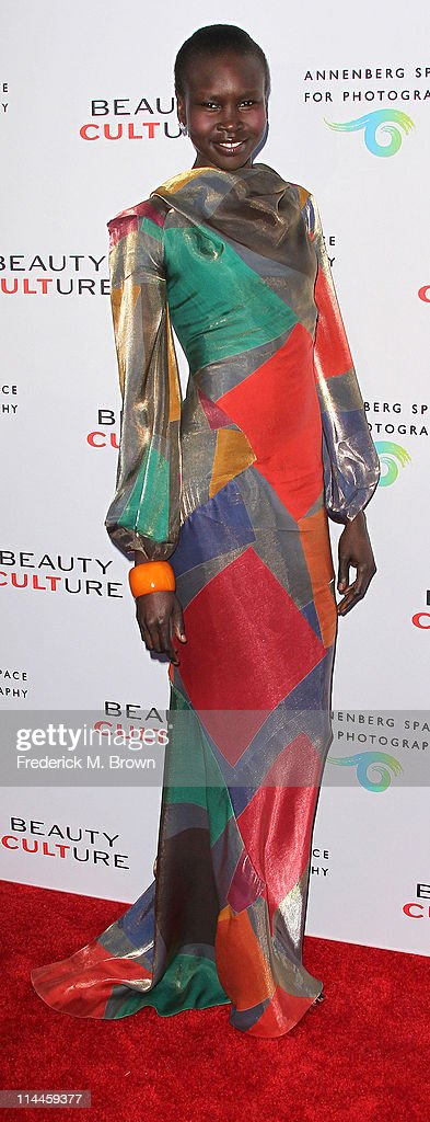 Model <a gi-track='captionPersonalityLinkClicked' href=/galleries/search?phrase=Alek+Wek&family=editorial&specificpeople=239513 ng-click='$event.stopPropagation()'>Alek Wek</a> attends the Opening Night of 'Beauty Culture' at The Annenberg Space For Photography on May 19, 2011 in Century City, California.