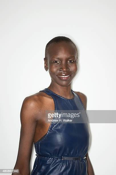Model Alek Wek poses for a portrait at the 2015 amfAR Inspiration Gala New York at Spring Studios on June 16 2015 in New York City