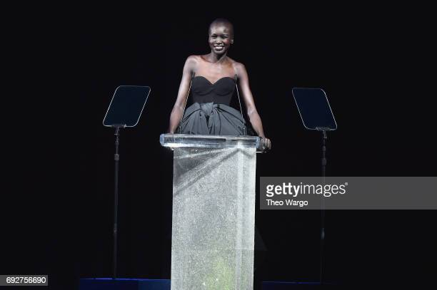 Model Alek Wek speaks onstage during the 2017 CFDA Fashion Awards at Hammerstein Ballroom on June 5 2017 in New York City