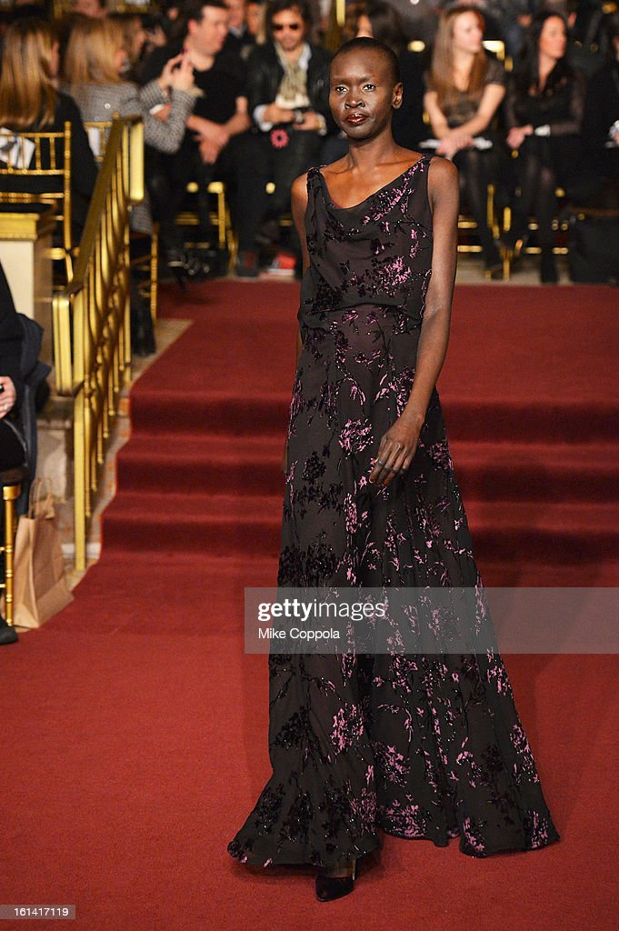 Model <a gi-track='captionPersonalityLinkClicked' href=/galleries/search?phrase=Alek+Wek&family=editorial&specificpeople=239513 ng-click='$event.stopPropagation()'>Alek Wek</a> walks the runway at the Zac Posen Fall 2013 fashion show during Mercedes-Benz Fashion Week on February 10, 2013 in New York City.