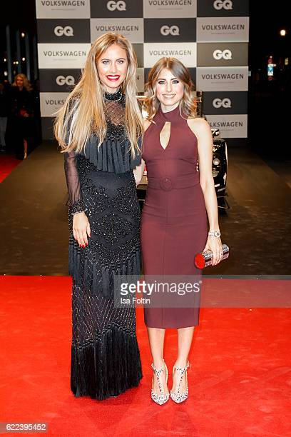 Model Alena Gerber and german moderator Catherine Hummels attend the GQ Men of the year Award 2016 at Komische Oper on November 10 2016 in Berlin...