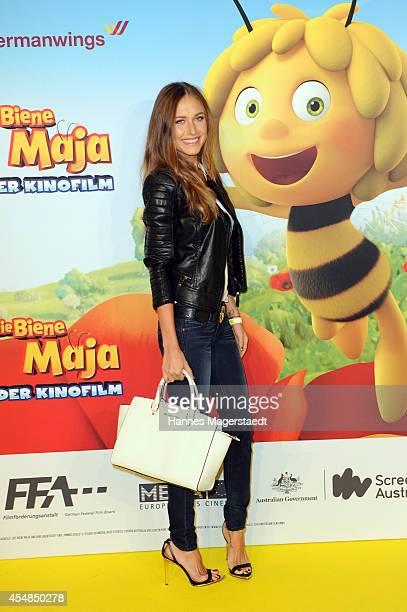 Model Alena Gerber attends the German premiere of the film 'Die Biene Maja Der Kinofilm' at Mathaeser Filmpalast on September 7 2014 in Munich Germany