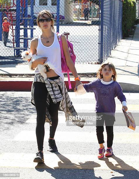 Model Alessandra Ambrosio and Anja Louise Ambrosio are seen on October 31 2013 in Los Angeles California