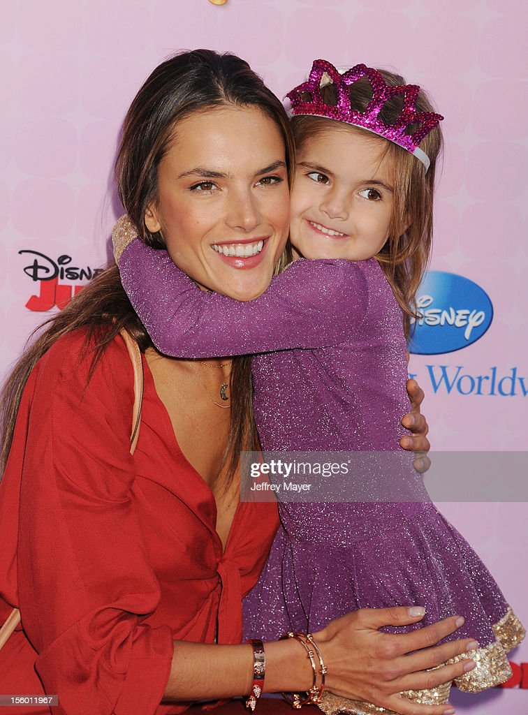 Model Alessandra Ambrosio and daughter Anja Louise Ambrosio Mazur arrive at the Disney Channel's Premiere Party For 'Sofia The First: Once Upon A Princess' at Walt Disney Studios on November 10, 2012 in Burbank, California.