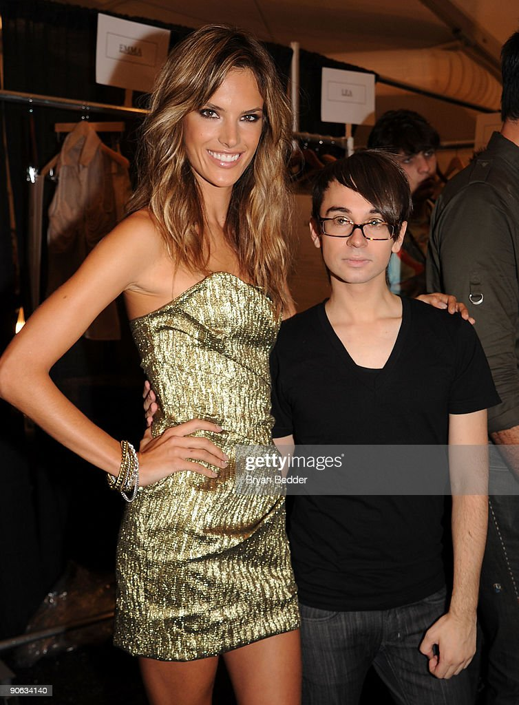 Model Alessandra Ambrosio and designer Christian Siriano pose backstage at the Christian Siriano Spring 2010 Fashion Show at the Promenade at Bryant...