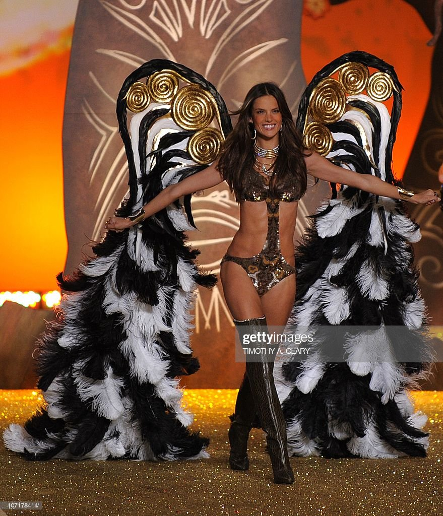 Model <a gi-track='captionPersonalityLinkClicked' href=/galleries/search?phrase=Alessandra+Ambrosio&family=editorial&specificpeople=203062 ng-click='$event.stopPropagation()'>Alessandra Ambrosio</a> appears on stage during the 2010 Victoria's Secret Fashion Show at the Lexington Armory in New York November 10, 2010. The show will be broadcast November 30, 2010 on CBS.