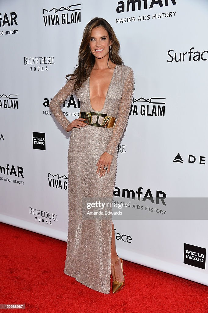 Model Alessandra Ambrosio arrives at amfAR The Foundation for AIDS 4th Annual Inspiration Gala at Milk Studios on December 12, 2013 in Hollywood, California.