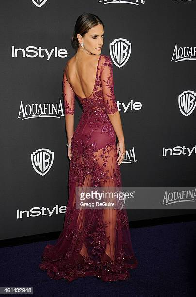 Model Alessandra Ambrosio arrives at the 16th Annual Warner Bros And InStyle PostGolden Globe Party at The Beverly Hilton Hotel on January 11 2015 in...