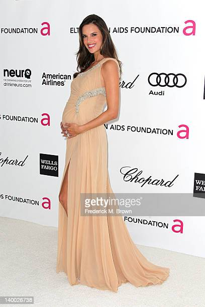 Model Alessandra Ambrosio arrives at the 20th Annual Elton John AIDS Foundation's Oscar Viewing Party held at West Hollywood Park on February 26 2012...