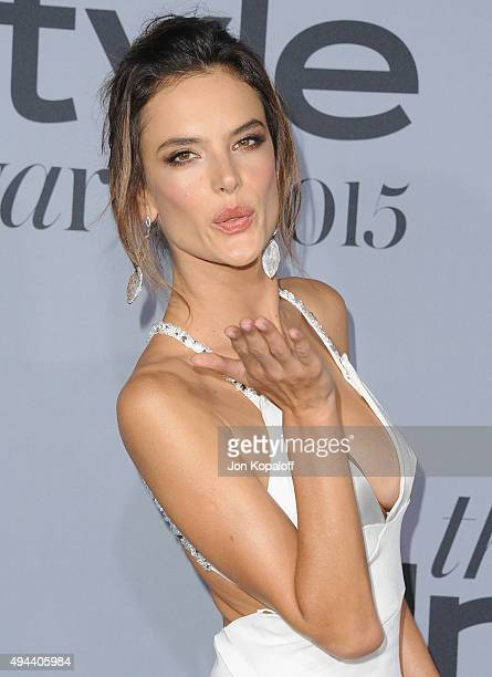 Model Alessandra Ambrosio arrives at the InStyle Awards at Getty Center on October 26 2015 in Los Angeles California