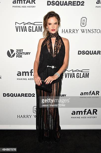 Model Alessandra Ambrosio attends amfAR's Inspiration Gala Los Angeles at Milk Studios on October 29 2015 in Hollywood California
