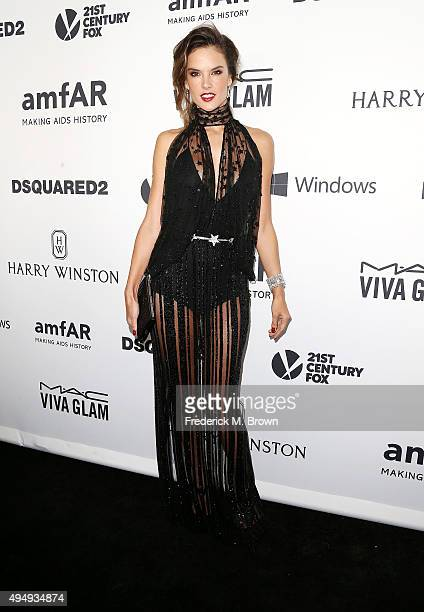 Model Alessandra Ambrosio attends amfAR's Inspiration Gala Los Angeles at Milk Studios on October 29 2015 in Hollywood California