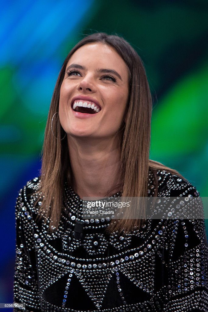 Model Alessandra Ambrosio attends 'El Hormiguero' TV Show at Vertice Studio on April 28, 2016 in Madrid.