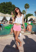 Model Alessandra Ambrosio attends LACOSTE LVE 4th Annual Desert Pool Party on April 13 2013 in Thermal California