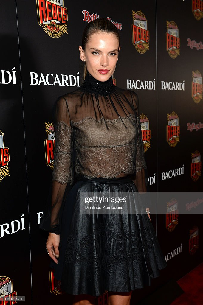 Model <a gi-track='captionPersonalityLinkClicked' href=/galleries/search?phrase=Alessandra+Ambrosio&family=editorial&specificpeople=203062 ng-click='$event.stopPropagation()'>Alessandra Ambrosio</a> attends Rolling Stone hosts Bacardi Rebels at Roseland Ballroom on May 20, 2013 in New York City.