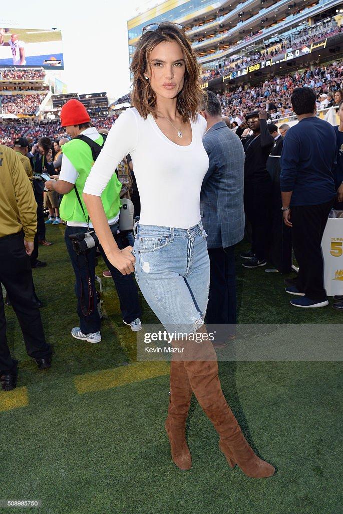 Model Alessandra Ambrosio attends Super Bowl 50 at Levi's Stadium on February 7 2016 in Santa Clara California