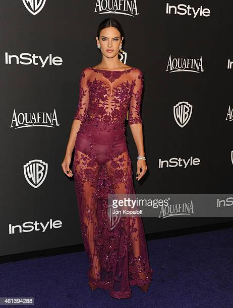 Model Alessandra Ambrosio attends the 16th Annual Warner Bros and InStyle PostGolden Globe Party at The Beverly Hilton Hotel on January 11 2015 in...