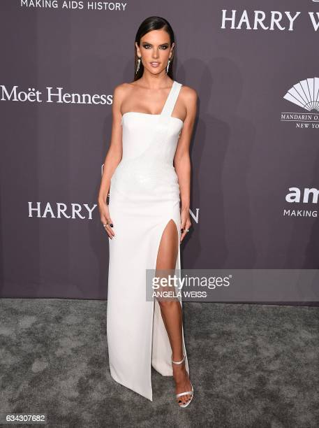 Model Alessandra Ambrosio attends the 19th annual amfAR's New York Gala to kick off NY Fashion Week at Cipriani Wall Street on February 8 2017 in New...