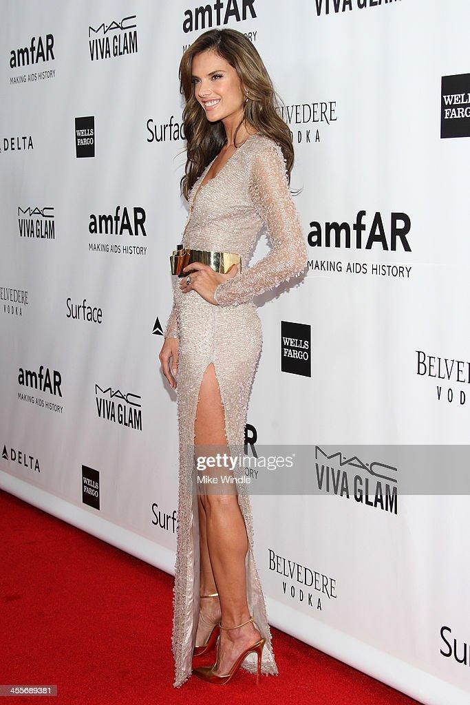 Model Alessandra Ambrosio attends the 2013 amfAR Inspiration Gala Los Angeles at Milk Studios on December 12, 2013 in Los Angeles, California.