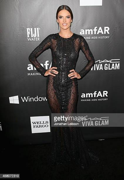 Model Alessandra Ambrosio attends the 2014 amfAR LA Inspiration Gala at Milk Studios on October 29 2014 in Hollywood California