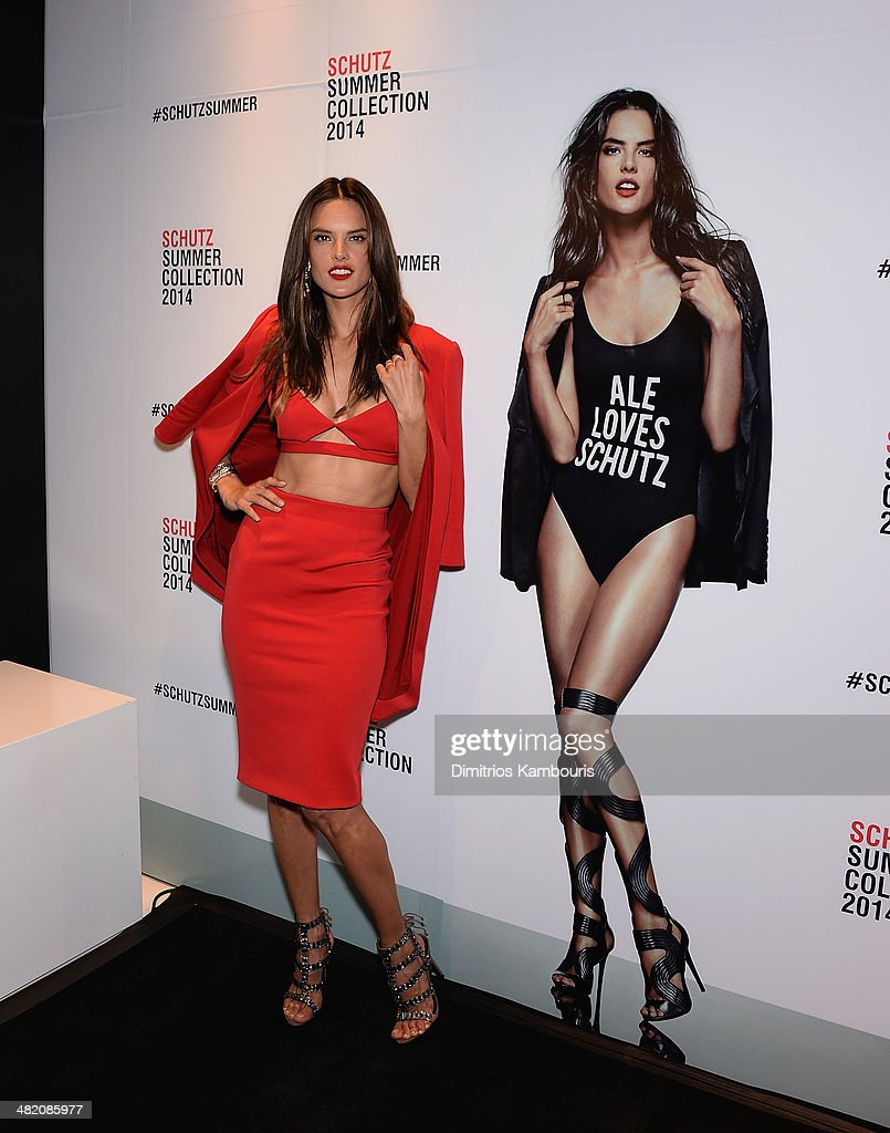 Model <a gi-track='captionPersonalityLinkClicked' href=/galleries/search?phrase=Alessandra+Ambrosio&family=editorial&specificpeople=203062 ng-click='$event.stopPropagation()'>Alessandra Ambrosio</a> attends the Schutz Summer 2014 Collection Launch at Schutz on April 2, 2014 in New York City.