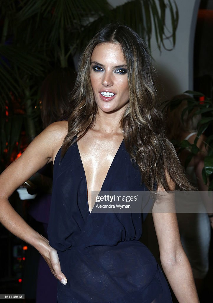 Model <a gi-track='captionPersonalityLinkClicked' href=/galleries/search?phrase=Alessandra+Ambrosio&family=editorial&specificpeople=203062 ng-click='$event.stopPropagation()'>Alessandra Ambrosio</a> attends the Warner Music Group 2013 Grammy Celebration Presented By Mini at Chateau Marmont on February 10, 2013 in Los Angeles, California.