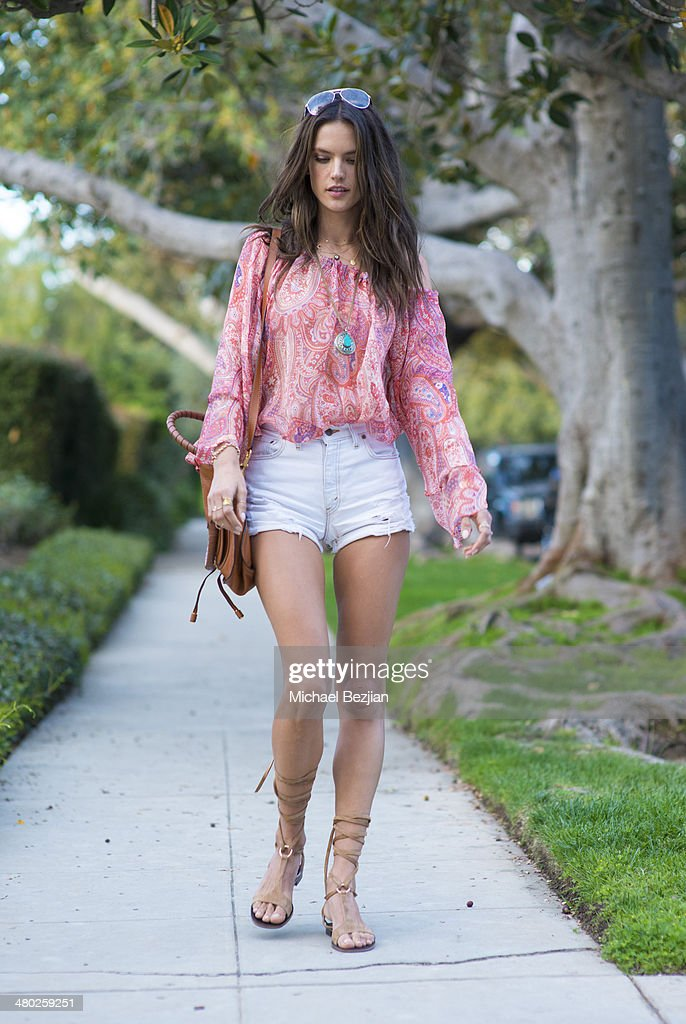 Model Alessandra Ambrosio is seen on March 23, 2014 in Los Angeles, California.