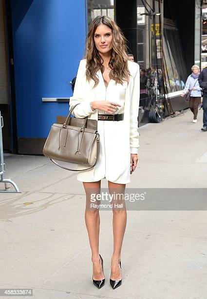 Model Alessandra Ambrosio leaves the 'Good Morning America' taping at the ABC Times Square Studios on November 3 2014 in New York City