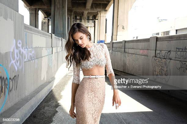 Model Alessandra Ambrosio poses at a fashion shoot for Harper's Bazaar Arabia on February 27 2014 in Los Angeles California Styling Sally Matthews...
