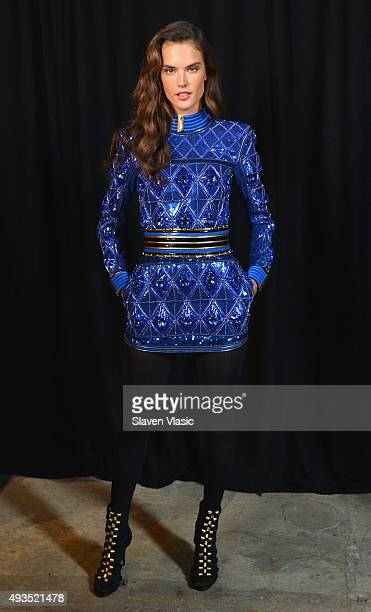 Model Alessandra Ambrosio poses backstage at the BALMAIN X HM Collection Launch at 23 Wall Street on October 20 2015 in New York City