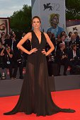 Model Alessandra Ambrosio poses on the red carpet before the screening of the movie 'Spotlight' presented out of competition at the 72nd Venice...
