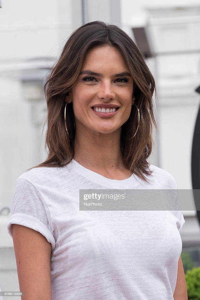 Model Alessandra Ambrosio presents the 'Xti' new collection at ME Hotel on April 29, 2016 in Madrid.