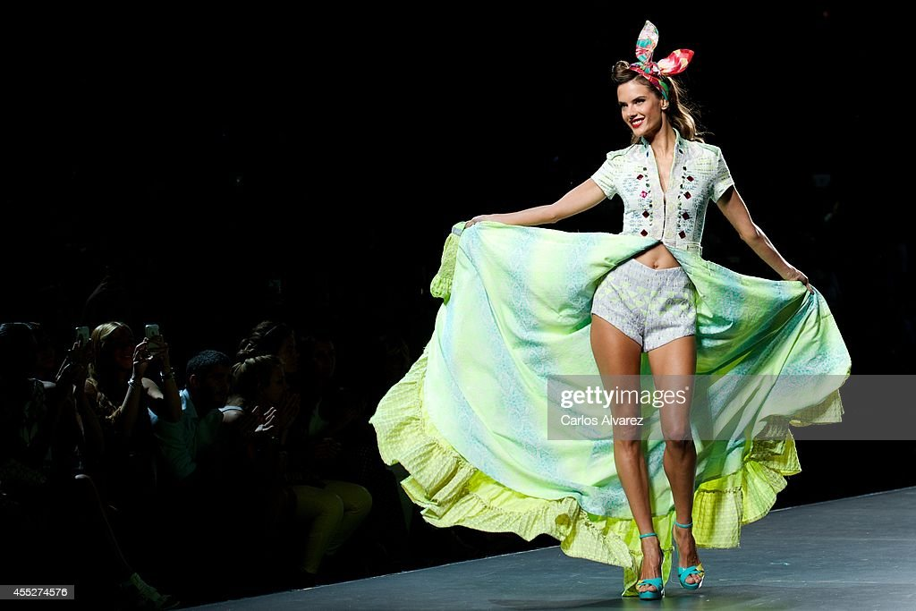 Model Alessandra Ambrosio showcases designs by Desigual on the runway at Desigual show during Mercedes Benz Fashion Week Madrid Spring/Summer 2015 at...