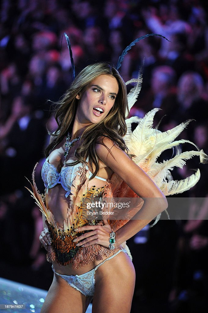 Model <a gi-track='captionPersonalityLinkClicked' href=/galleries/search?phrase=Alessandra+Ambrosio&family=editorial&specificpeople=203062 ng-click='$event.stopPropagation()'>Alessandra Ambrosio</a> walks the runway at the 2013 Victoria's Secret Fashion Show at Lexington Avenue Armory on November 13, 2013 in New York City.
