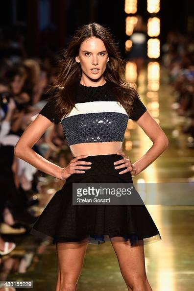 Model Alessandra Ambrosio walks the runway at the Alex Perry show during MercedesBenz Fashion Week Australia 2014 at Carriageworks on April 7 2014 in...