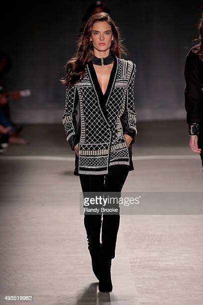 Model Alessandra Ambrosio walks the runway at the BALMAIN X HM Collection Launch at 23 Wall Street on October 20 2015 in New York City