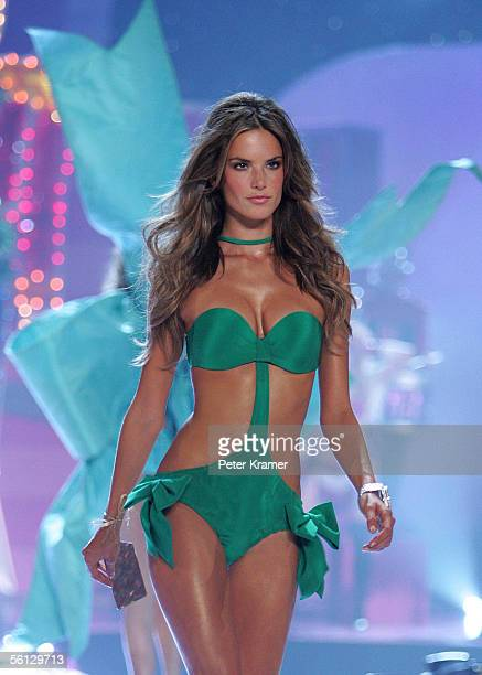 Model Alessandra Ambrosio walks the runway at The Victoria's Secret Fashion Show at the 69th Regiment Armory November 9 2005 in New York City