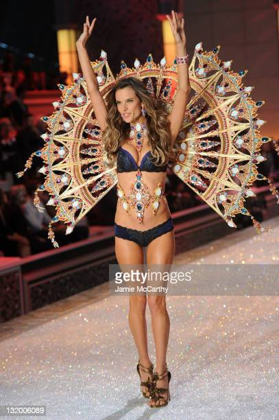 Model Alessandra Ambrosio walks the runway during the 2011 Victoria's Secret Fashion Show at the Lexington Avenue Armory on November 9 2011 in New...