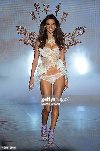 Model Alessandra Ambrosio walks the runway during the 2015 Victoria's Secret Fashion Show at the Lexington Armory on November 10 2015 in New York City