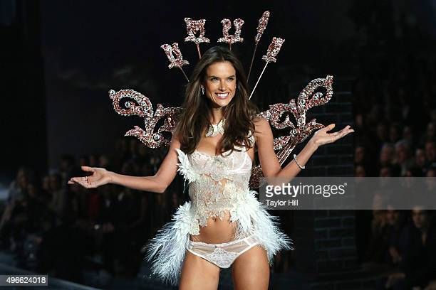Model Alessandra Ambrosio walks the runway during the 2015 Victoria's Secret Fashion Show at Lexington Avenue Armory on November 10 2015 in New York...
