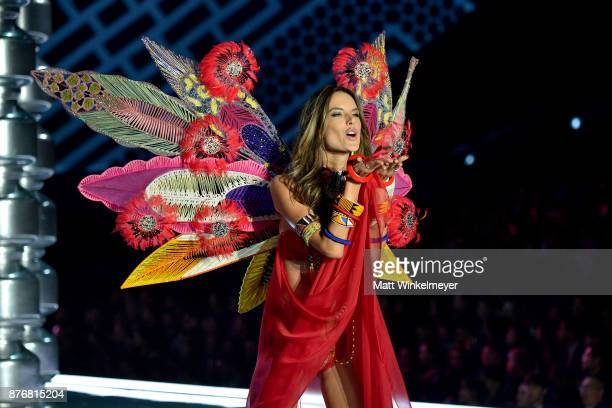 Model Alessandra Ambrosio walks the runway during the 2017 Victoria's Secret Fashion Show In Shanghai at MercedesBenz Arena on November 20 2017 in...