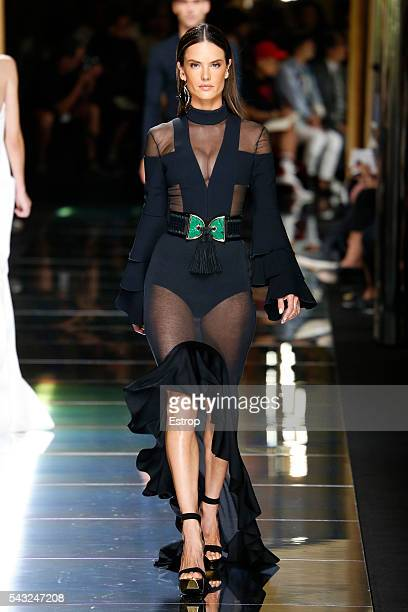 model Alessandra Ambrosio walks the runway during the Balmain Menswear Spring/Summer 2017 show designed by Olivier Rousteing as part of Paris Fashion...