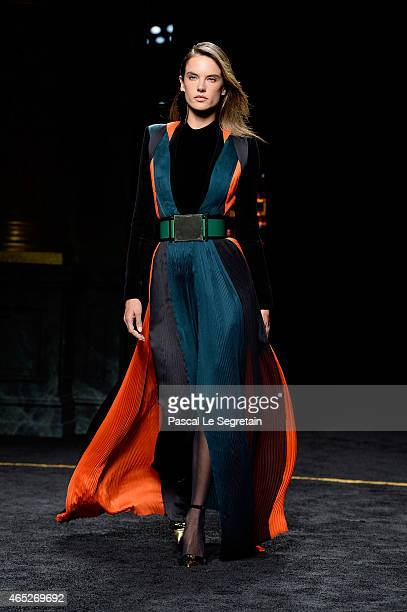 Model Alessandra Ambrosio walks the runway during the Balmain show as part of the Paris Fashion Week Womenswear Fall/Winter 2015/2016 on March 5 2015...